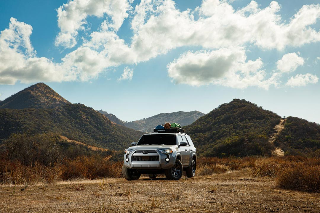 front view of the 2021 Toyota 4Runner on a off road trail