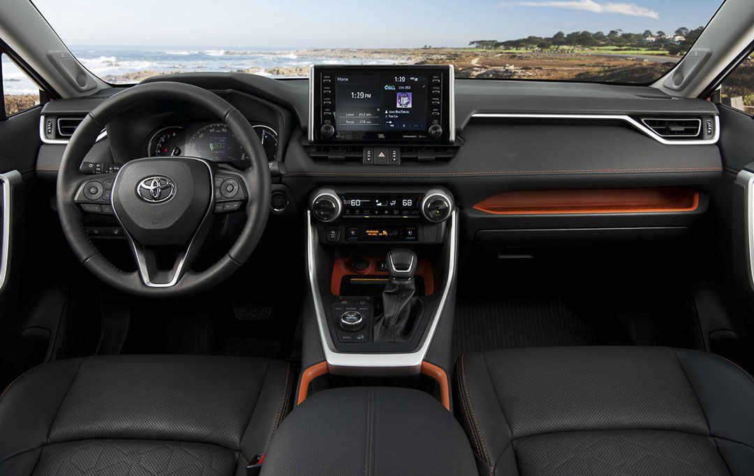 interior view with the central dashboard and steering wheel inside the 2021 Toyota RAV4