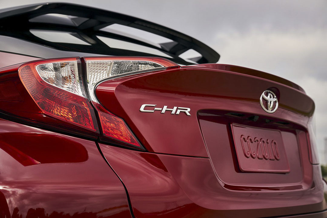close up rear view of the 2021 Toyota C-HR tail light and model badge