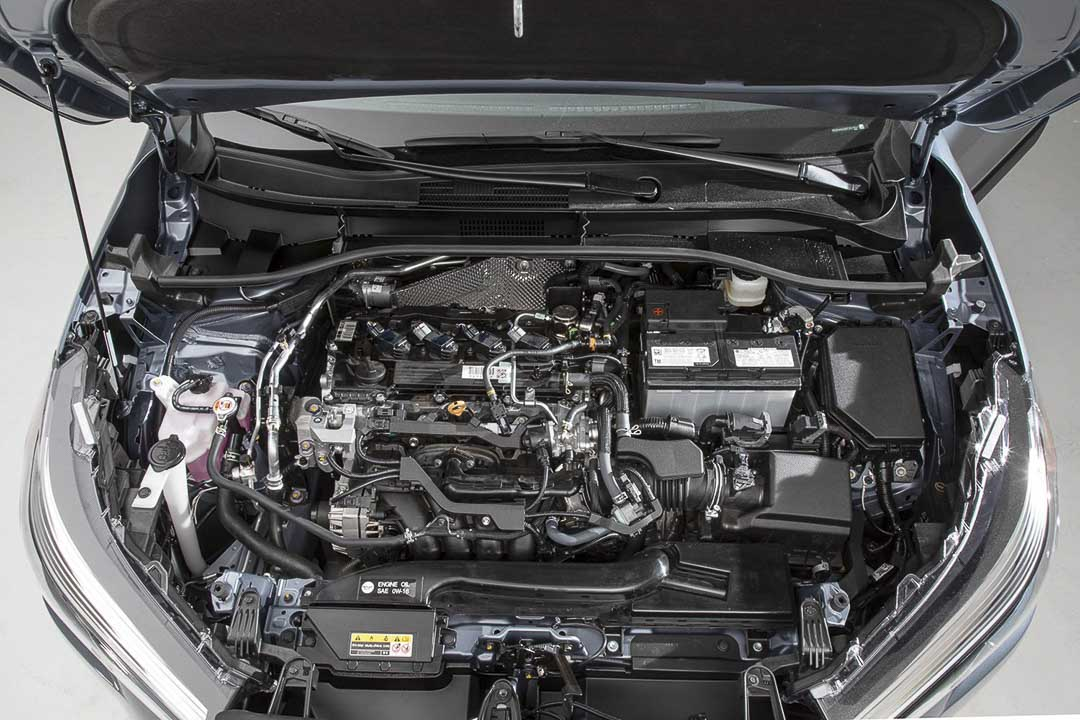 Under the hood of the 2022 Toyota Corolla Cross unveiling its 2.0 L 4-cylinder engine